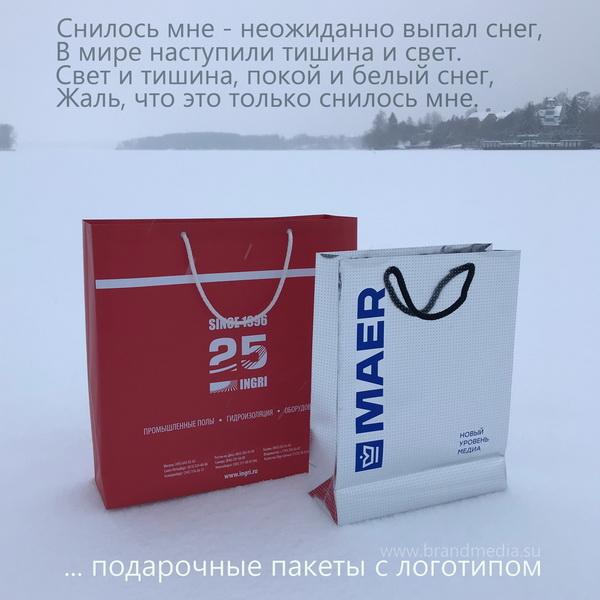 Бумажные пакеты с логотипом и веревочными ручками