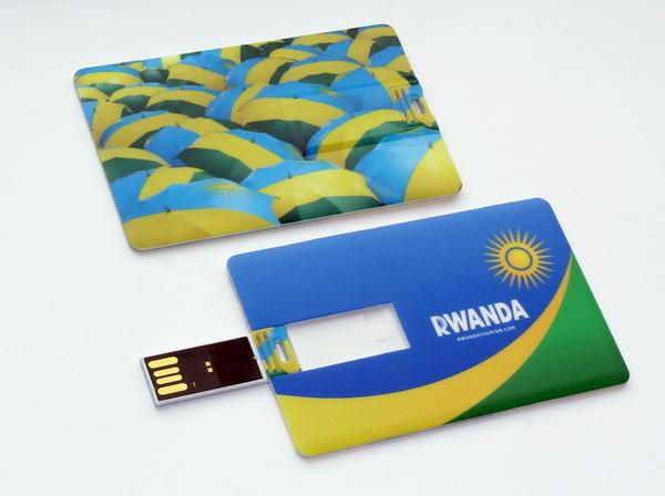 Пластиковые флешки-кредитки с логотипом Rwanda