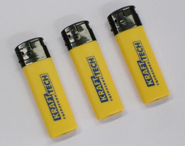 Желтые промо зажигалки с логотипом