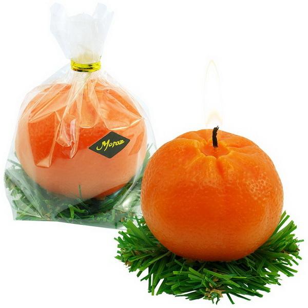 Свеча Мандарин к Новому году от производителя сувениров