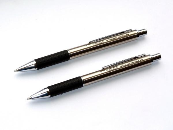 Металлические ручки Сенатор Softstar Steel с логотипом компании Гермес
