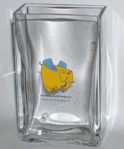 Ваза стекло с логотипом