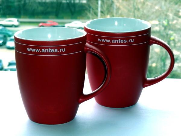 Красные кружки Сенатор Elite Matt с логотипом фирмы Антес