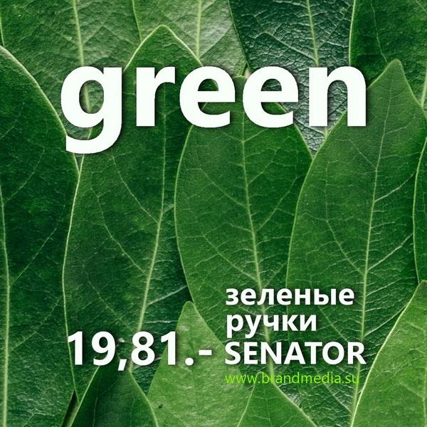 Зеленые ручки Senator c логотипом заказчика