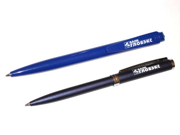 Шариковые пластиковые и металлические ручки для банка Глобэкс.