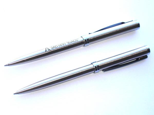Шариковые металлические ручки Senator Delgado Steel с логотипом компании.
