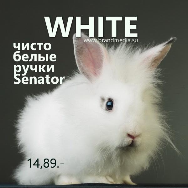 Белые ручки Senator с логотипом компании заказчика