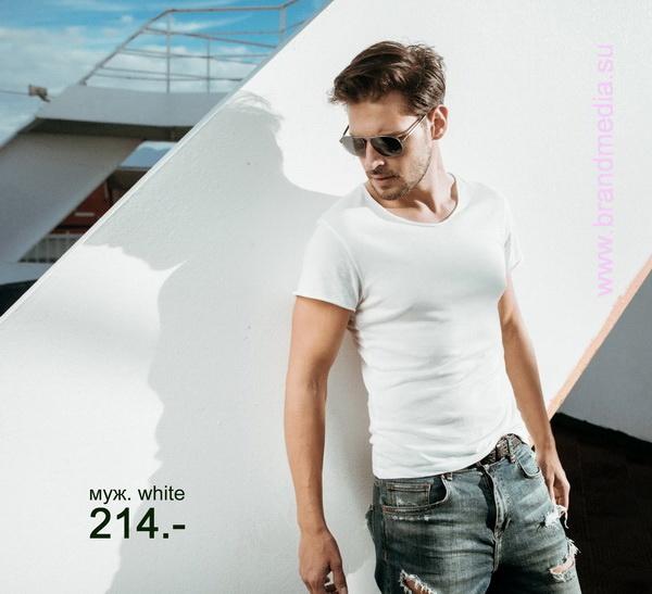 Белые мужские футболки с логотипом фирмы заказчика