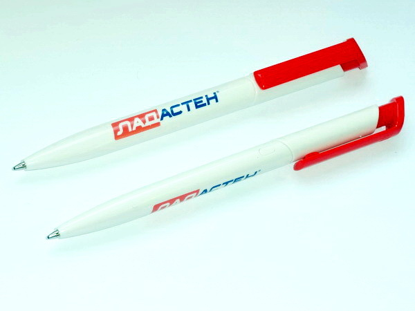 Белые с красным шариковые ручки для нанесения логотипа фармацевтической компании