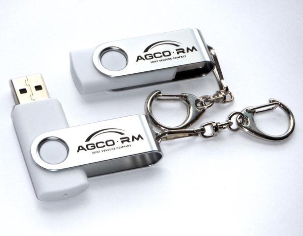 Белые usb флешки с лого Agco RM