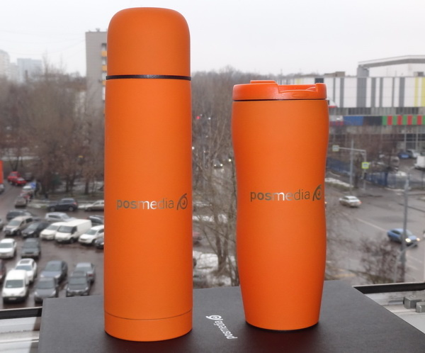 Оранжевый термос и термокружка с логотипом компании
