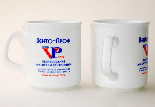 Белые кружки Senator с логотипом Венто-Проф