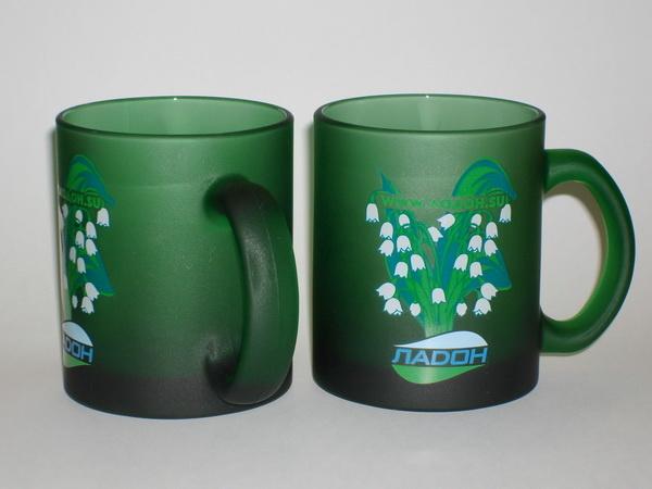 Кружки Senator Frozen Colour зеленые с логотипом Ладон