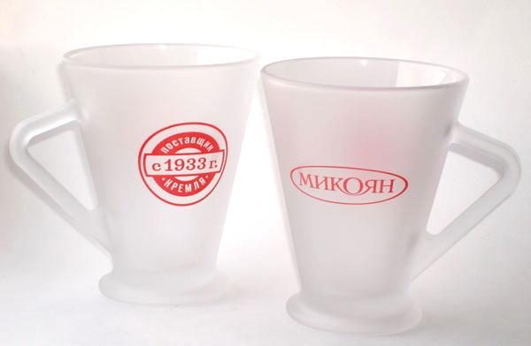 Кружки стеклянные с логотипом Микоян