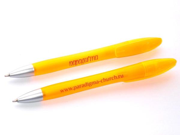 Желтые ручки с логотипом компании