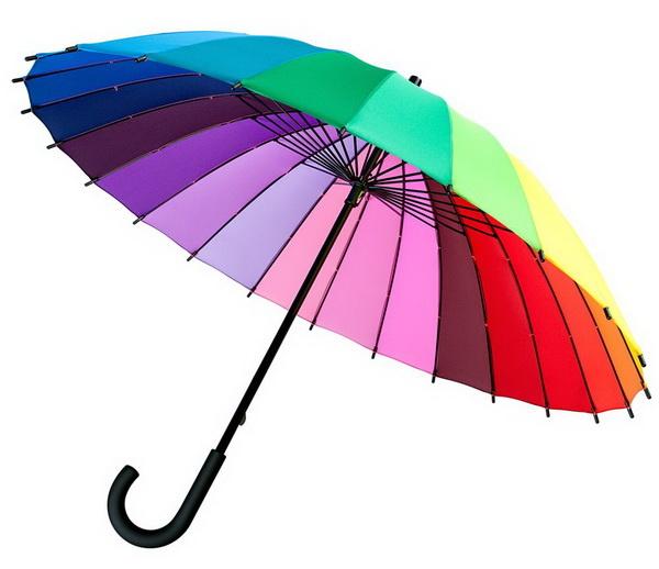 Цветные зонты с логотипом компании заказчика.